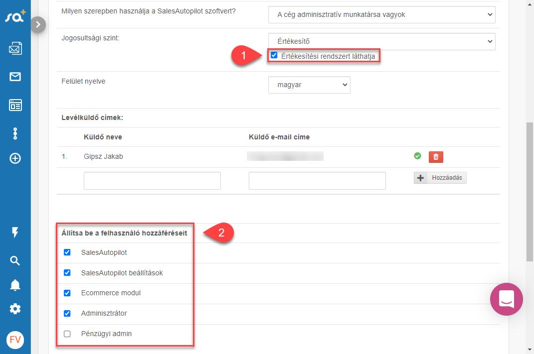 CRM jogosultásgú felhasználók beállítása - 4